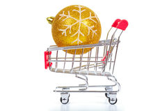 Christmas toys in shopping cart Royalty Free Stock Images