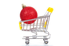 Christmas toys in shopping cart Royalty Free Stock Image