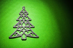 Christmas toys simbol of fir tree on green background horizontal Royalty Free Stock Photography