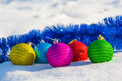 Christmas toys on a snow Stock Images
