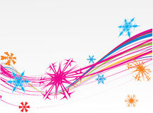 Christmas toys & snowflakes. Abstract wave background with Christmas toys & snowflakes . Vector illustration Stock Photo