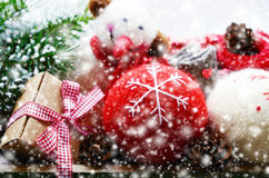 Christmas toys in snowflakes Stock Image