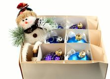 Christmas toys and snowman royalty free stock images