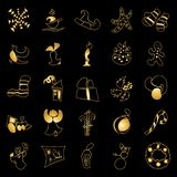 Christmas toys and stickers. golden ornated metallic objects on black. Gift, mittens, deer, bell, gingerbread, candy cane, snowman, snowflake, greeting letter vector illustration