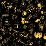 Christmas toys and stickers seamless pattern. golden ornated metallic objects on black. gift, deer, bell, gingerbread. Candy cane, snowman, snowflake, greeting stock illustration