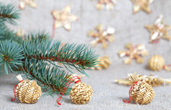 Christmas toys from straw Royalty Free Stock Photography