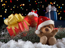 Christmas toys teddy bear with decoration.  Xmas concept Royalty Free Stock Images