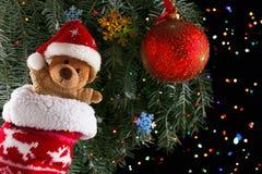 Christmas toys teddy bear with decoration.  Xmas concept Royalty Free Stock Photo