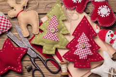 Christmas toys with their own hands. Top view royalty free stock photography