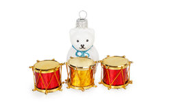 Christmas toys three drums and white bear Royalty Free Stock Images