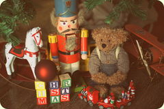 Christmas Toys. Christmas time always bring childhood memories flooding back. We all hold dear those moments as a child  waking up Christmas morning and rushing Royalty Free Stock Photos