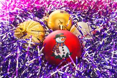 Christmas toys and tinsel. Stock Images