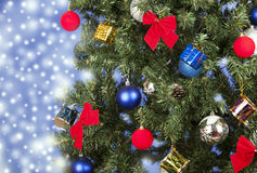 Christmas toys on a tree Royalty Free Stock Photos