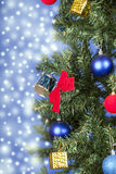 Christmas toys on a tree Royalty Free Stock Photo