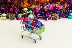 Christmas toys in the truck, new year, christmas, gifts Stock Photos