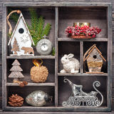 Christmas toys in vintage wooden box. Christmas decorations Royalty Free Stock Image