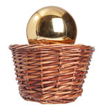 Christmas toys in wood basket Royalty Free Stock Photo