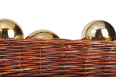 Christmas toys in wood basket Stock Photos