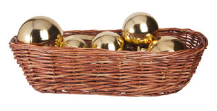 Christmas toys in wood basket Stock Photo