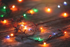 Christmas toys on wooden background Royalty Free Stock Photos