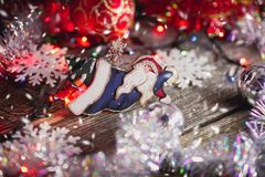 Christmas toys on wooden background Royalty Free Stock Photo