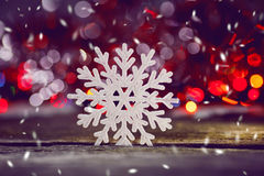 Christmas toys on wooden background Stock Photo