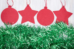 Christmas toys on wooden background, greeting card Royalty Free Stock Photography