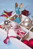Christmas toys in a wooden box. Stock Image