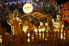 Christmas crib at old town square in Prague royalty free stock photography