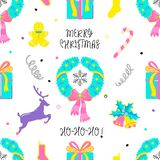 Christmas tradition holiday elements in doodle style. royalty free illustration