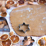 Christmas Traditional Baking. Family baking Christmas gingerbread cookies Royalty Free Stock Photography