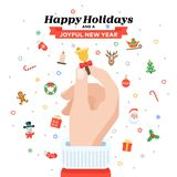 Christmas card with Santa`s hand holding candy cane. Flat design. Christmas traditional decoration elements for greeting card, banners, websites, infographics Stock Image