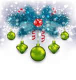 Christmas traditional decoration with fir branches, glass balls. Illustration Christmas traditional decoration with fir branches, glass balls and sweet canes Vector Illustration