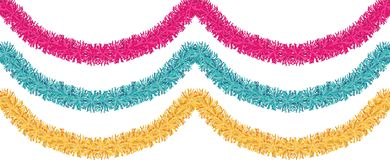 Free Christmas Traditional Decorations Golden, Pink, Blue Tinsel. Xmas Ribbon Garland Isolated Decor Element Repeating Border Stock Images - 105814494