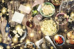 Christmas, traditional dinner, New Year`s Eve, top view stock photos