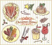 Christmas traditional menu, hand drawn food illustration. Holiday menu - roasted turkey, pudding, eggnog, cranberry wassail, etc Royalty Free Stock Photo