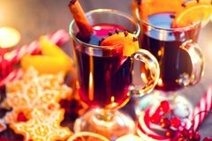 Christmas traditional mulled wine. On holiday decorated table Stock Images