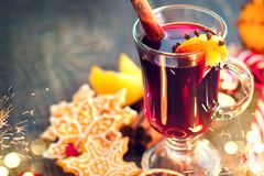 Christmas traditional mulled wine. On holiday decorated table Stock Image