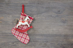 Christmas traditional: rocking or wooden horse for a coupon Royalty Free Stock Images