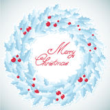 Christmas traditional wreath with holly berries Stock Photography