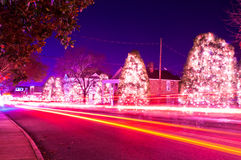 Christmas traffic. Traffic lights and light trails during busy christmas holiday season at mcadenville north carolina stock image