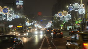 Christmas traffic in Bucharest stock footage