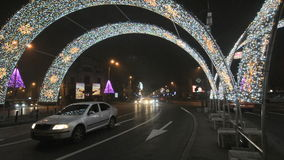 Christmas traffic on Piata Romana stock video footage