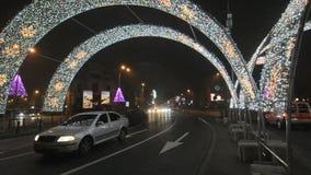Christmas traffic on Piata Romana stock video footage