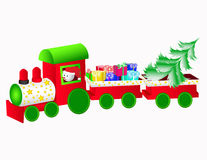 Christmas train. Winter background with snowman and christmas train. Use your design Stock Photography