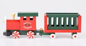 Christmas train. Christmas toy train decoration isolated on white Stock Photo