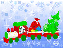 Christmas train. Winter background with snowman and christmas train. Use your design Stock Image