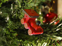 Christmas train. Christmas toy train ornament made of wood royalty free stock photo