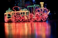 Christmas train. Near a christmas tree Stock Photo