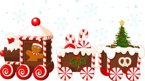 Christmas train. Made of gingerbread, cream and candies stock illustration